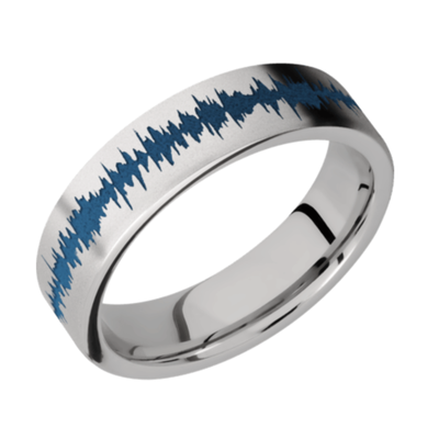 Titanium Flat Band with color Soundwave
