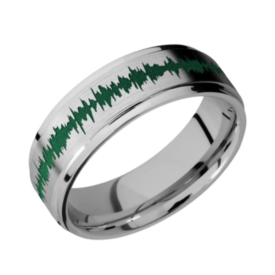 Titanium Flat Band - Flat Grooved Edge Satin-Polish w/color Soundwave