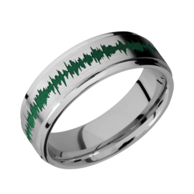 Titanium Flat Band - Flat Grooved Edge Satin-Polish w/color Soundwave
