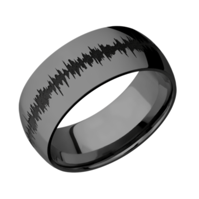 Zirconium Domed Band Polish with color Soundwave