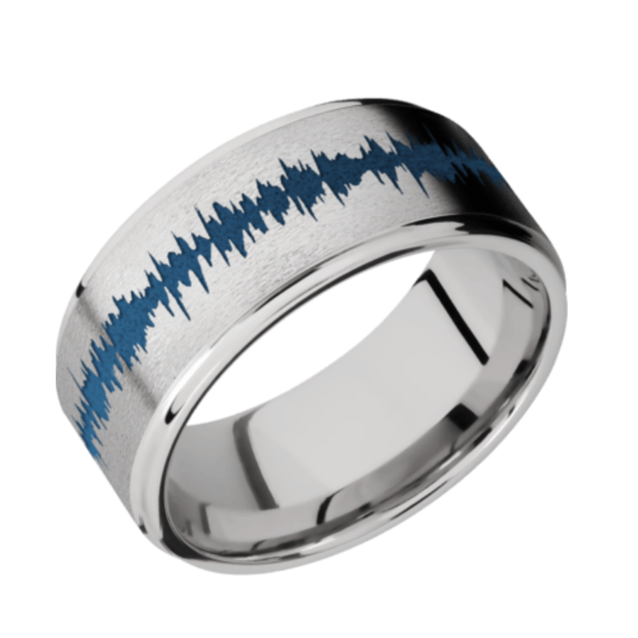 Cobalt Chrome Flat Band with Grooved Edges CC8FGE/LCVSOUNDWAVE/A Sand-Polish