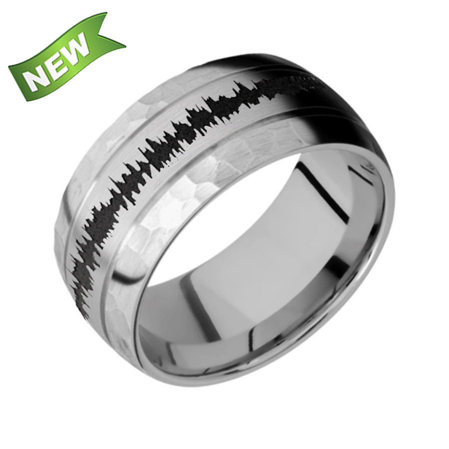 Titanium Domed band with two accent grooves 10D2.5 satin with hammer second finish
