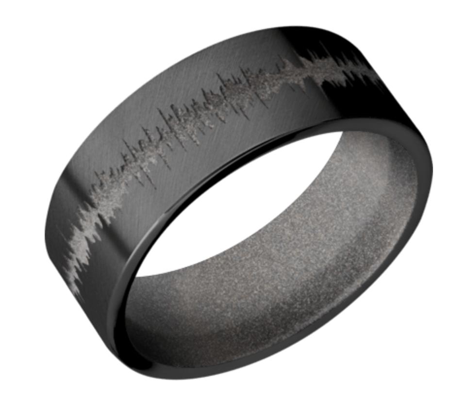 8mm Zirconium Flat Band w/Bright Nickel Sleeve Sleeve Z8F/LCVLCVSOUNDWAVE/A Bead Finish
