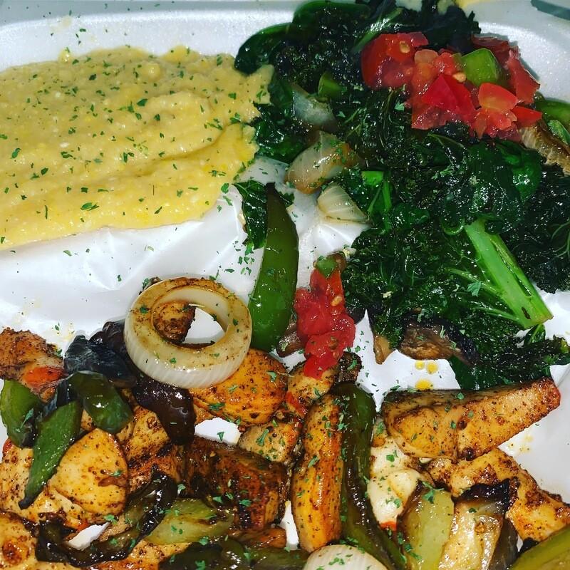 Lia's Vegan Shrimp and Polenta