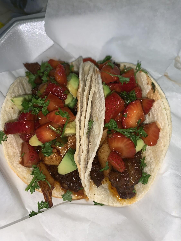 Homemade Seitan Unsteak Tacos w Strawberry Salsa