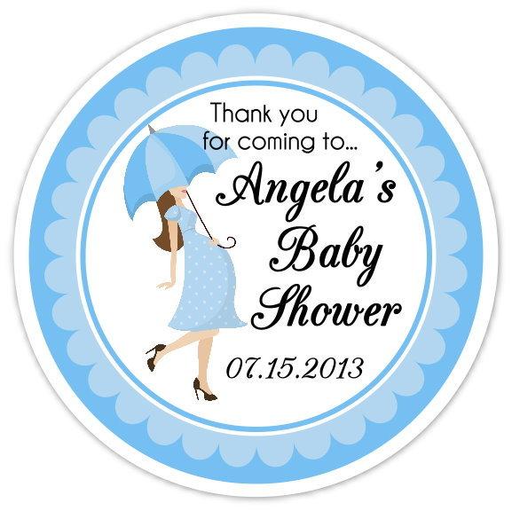 Blue Umbrella Baby Shower Stickers 203-sticker