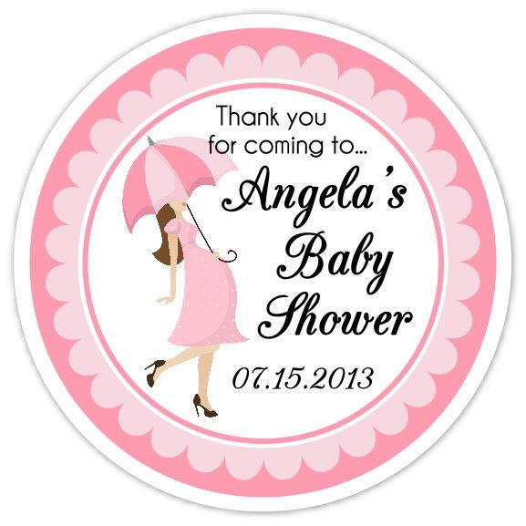 Pink Umbrella Baby Shower Stickers 204-sticker
