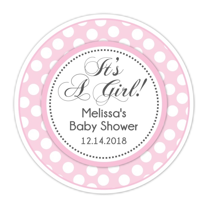 Pink Polka Dot It's A Girl Baby Shower Stickers 208-sticker