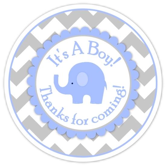 Gray Blue Chevron Elephant It's A Boy Stickers 212-sticker