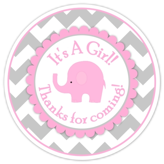Gray Pink Chevron Elephant It's A Girl Stickers 211-sticker