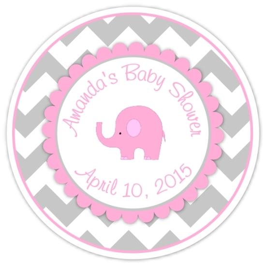Gray Pink Chevron Elephant Baby Shower Stickers 229-sticker