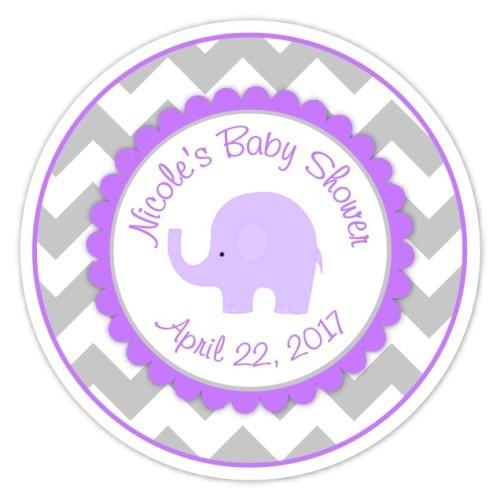 Gray Purple Chevron Elephant Baby Shower stickers 216-sticker