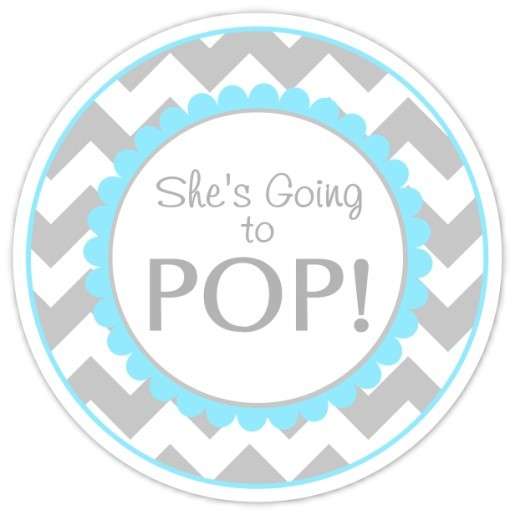Gray and Blue Chevron Going to Pop Stickers 221-sticker
