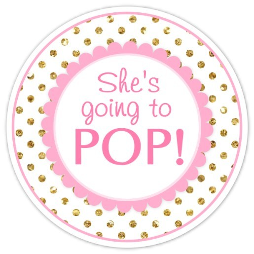 Pink and Gold Polka Dots She's Going to Pop Stickers 224-sticker