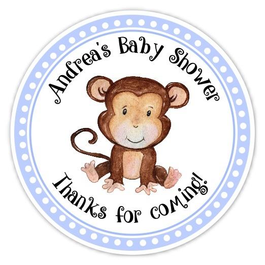 Blue Monkey Baby Shower Stickers 234-sticker