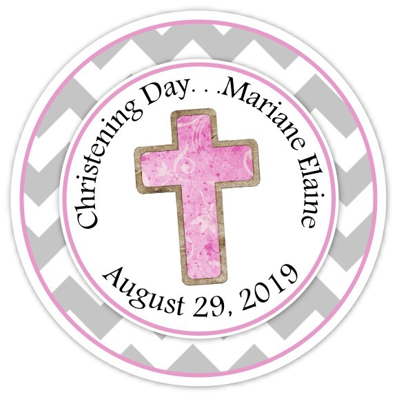 Pink and Gray Christening Day Personalized Stickers 214-sticker