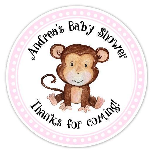 Pink Monkey Baby Shower Stickers 234p-sticker