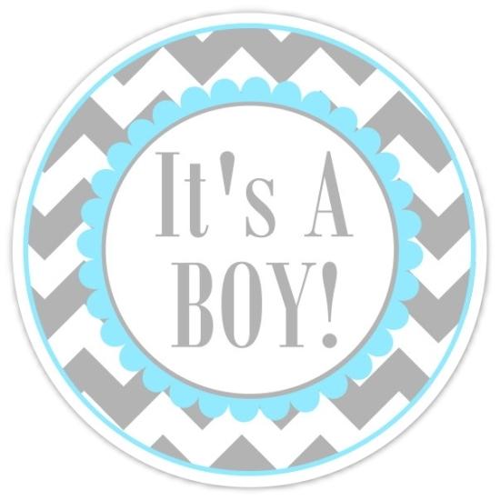 Blue and Gray Chevron It's A Boy stickers 232-sticker