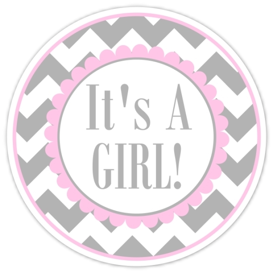 Pink and Gray Chevron It's A Girl Stickers 233-sticker