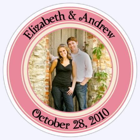 Wedding Photo Stickers - Coral and Cream 116c-sticker