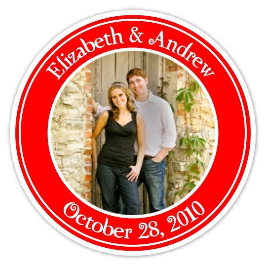 Wedding Photo Stickers - Red and White 116d-sticker