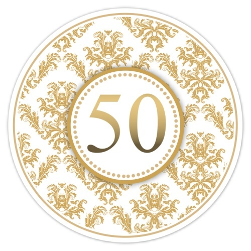 50th Anniversary Gold Damask Stickers 101-sticker