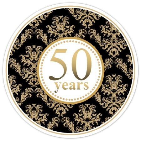 50th Anniversary Black and Gold Damask Stickers 102-sticker