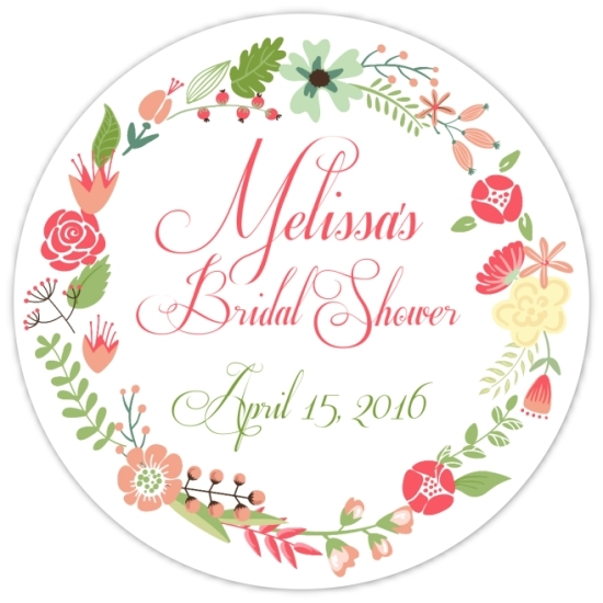 Coral and Green Wreath Bridal Stickers 114-sticker