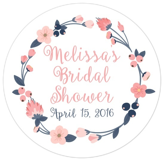 Pink Blush and Navy Wreath Bridal Stickers 113-sticker
