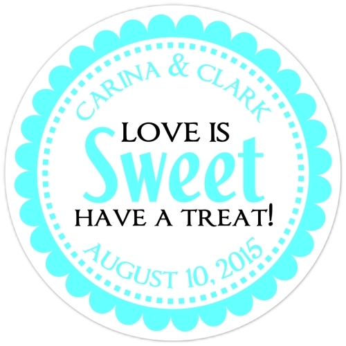 Love is Sweet Teal Stickers 110t-sticker