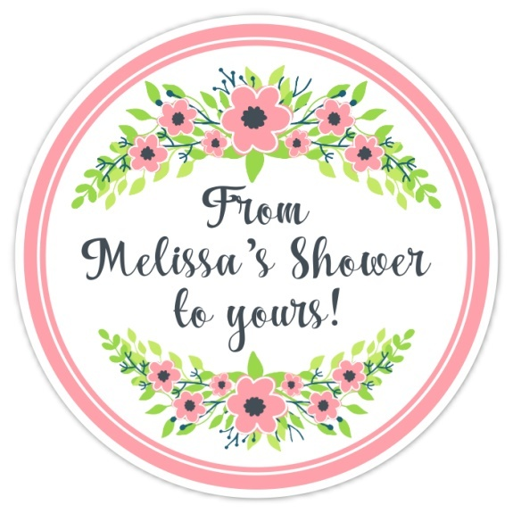 Pink and Green Floral Wedding Shower Stickers 126-sticker