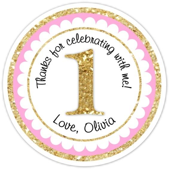 1st Birthday Stickers, Pink and Gold First Birthday 308-sticker