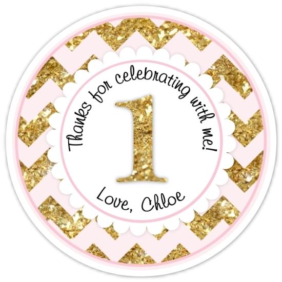 Chevron Pink and Gold Glitter 1st Birthday Stickers 310-sticker