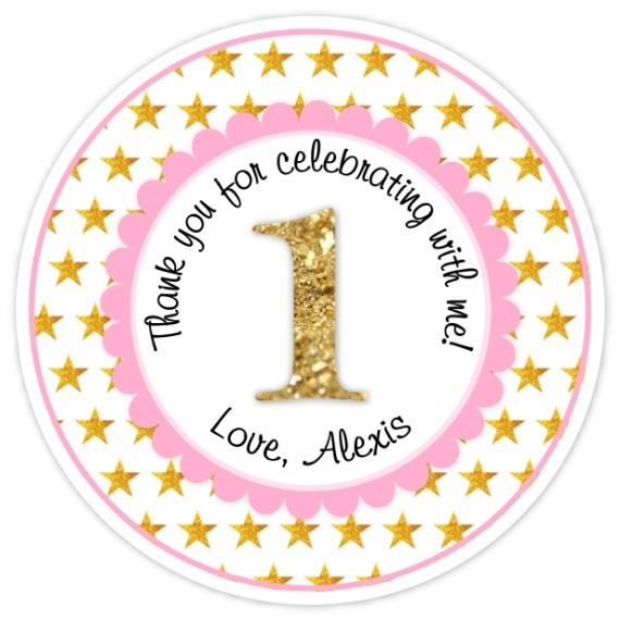 Pink and Gold Glitter Stars First Birthday, Twinkle Little Star 309s-sticker
