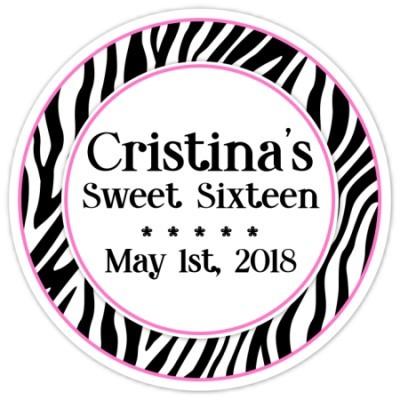 Personalized Zebra Print Stickers 143-za