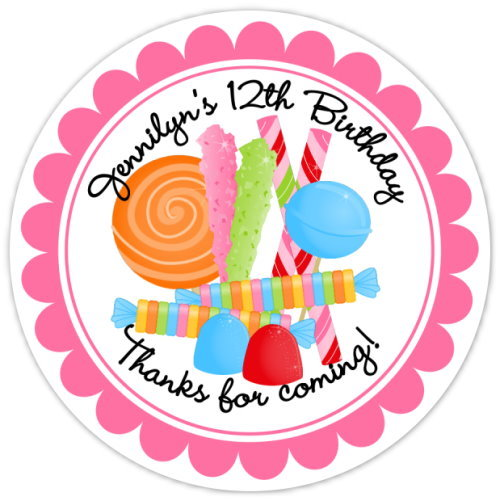 Candy Land Birthday Stickers, Design 2 305-sticker