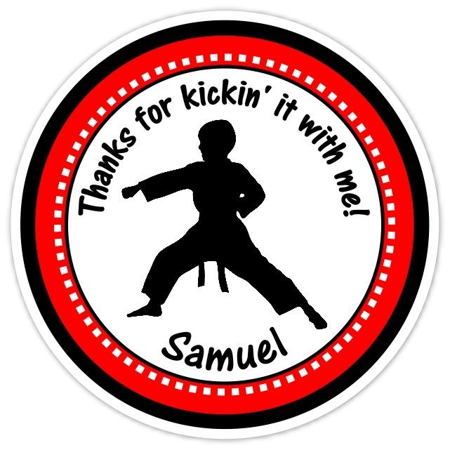 Boy Red Karate Birthday Stickers 312-sticker