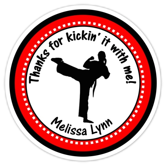 Girl Karate Birthday Stickers 311-sticker