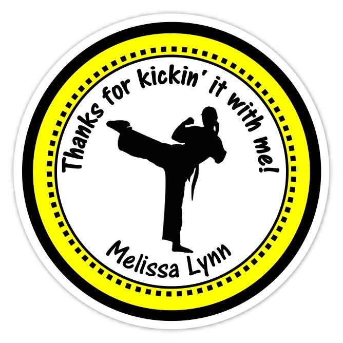 Girl Green and Black Karate Birthday Stickers 311y-sticker