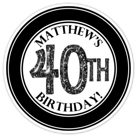 40th Birthday Stickers, Black and White 306-sticker
