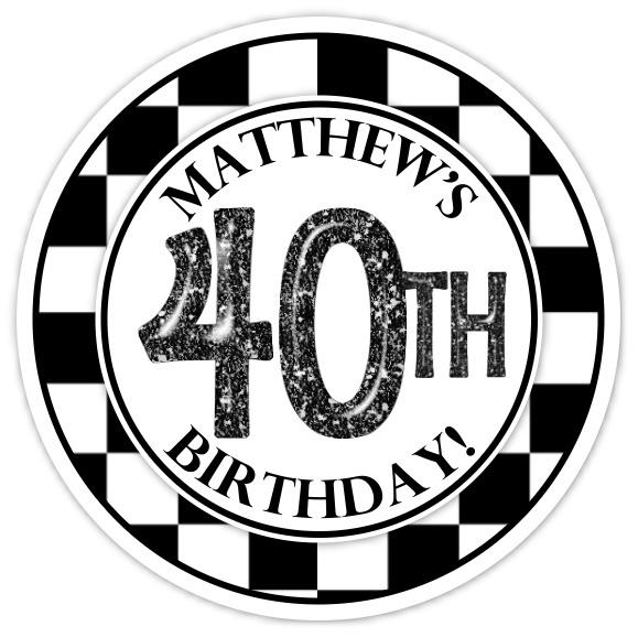 Black and White Check 40th Birthday stickers 307-sticker