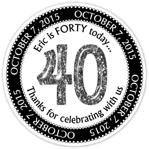 Black and White Glitter 40th Birthday stickers 307b-sticker