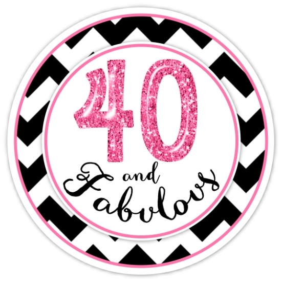 40 And Fabulous Black and Hot Pink Birthday Stickers 321-sticker