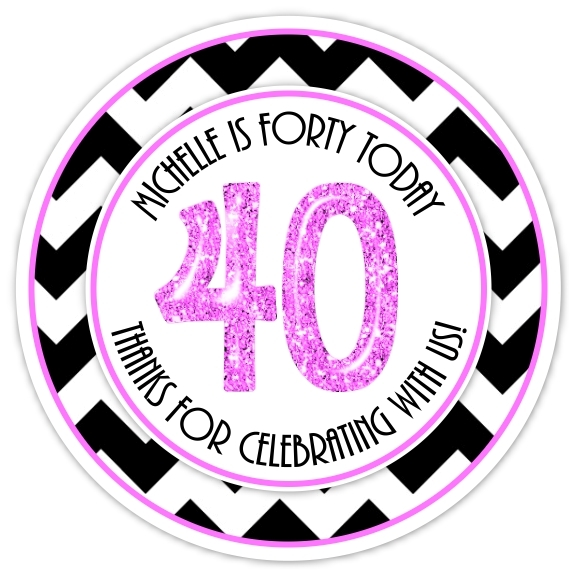 40th Birthday Black and Hot Pink Stickers 322-sticker