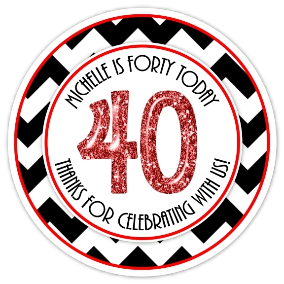40th Birthday Black and Red Stickers 323-sticker