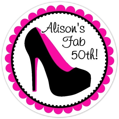 50th Birthday Black and Hot Pink Stiletto Stickers 324-sticker