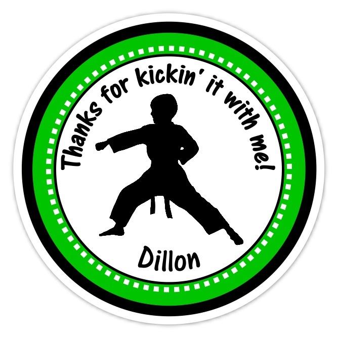 Boy Green Karate Birthday Stickers 312g-sticker