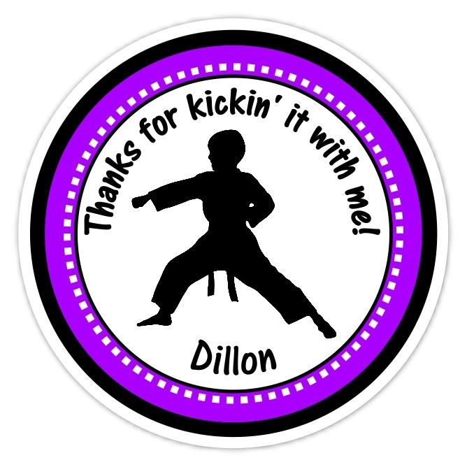 Boy Purple Karate Birthday Stickers 312p-sticker