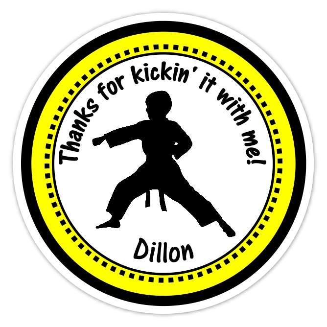Boy Yellow Karate Birthday Stickers 312y-sticker