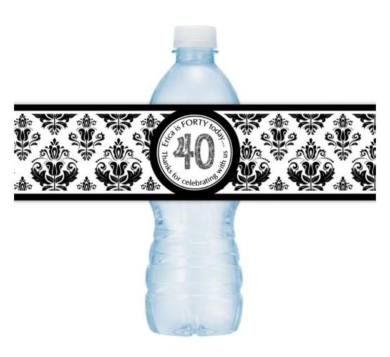 40th Birthday Water Bottle Labels - Black Damask 102-wbl